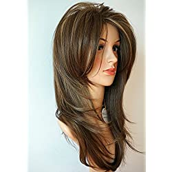wigbuy Long Layered light Brown Hair and Blonde Balayage color with Highlights Synthetic Hair Fiber Highlight Multicolor for Women (4H144)