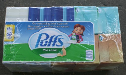 Puffs Plus Lotion 10 Boxes Tissues (Cube OR Rectangle Boxes and Designs May BE Variety)