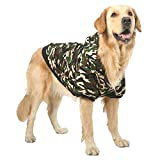 """FLAdorepet Camouflage Pet Winter Hoodie Jackets for Large Dog Fleece Warm Hooded Coats Clothes for Labrador Bulldog Dog Apparels (5XL(Bust 28.3""""), Green)"""
