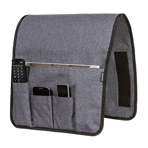 HigherGen Anti Slip Couch Chair Armrest Caddy with Hook and Loop Fastening (W14 xL35) 5 Pockets Premium Linen Grey Arm Chair Organizer for Cell Phone, Eyeglasses, Pen, Magazine, Remote Control ()