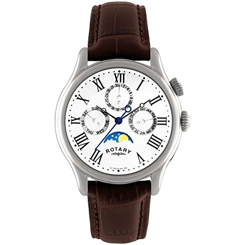 Rotary GS02838/01 Men's Multifunction Moonphase Watch Brown Leather Strap