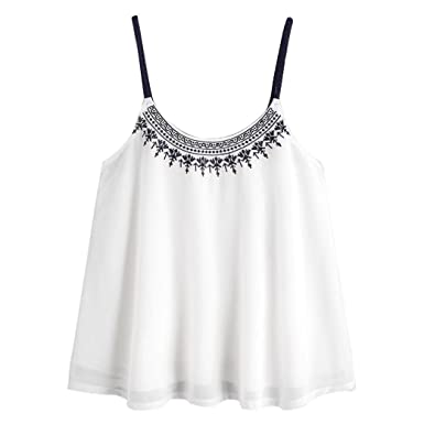 e82ac8f4e2f42d Image Unavailable. Image not available for. Colour: Women's Vest,Women  Summer Boho Sleeveless Tank Tops Embroidered Print Chiffon Vest Top Shirt  Blouse