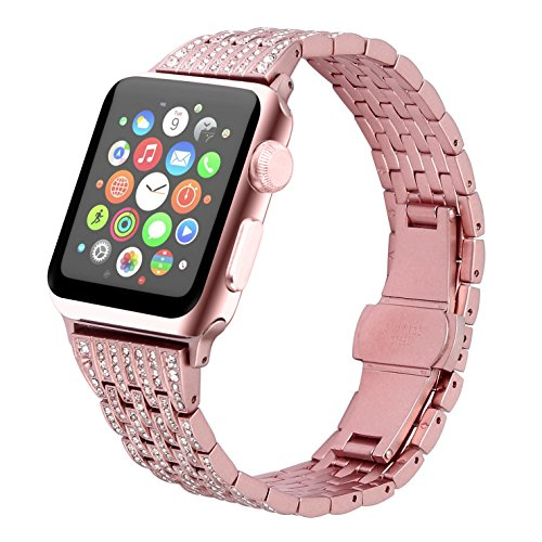 Juzzhou Band For Apple Watch iWatch Series 1/2/3 Sport Edition Replacement Stainless Steel Faux Jewelry Wriststrap Bracelet Wrist Strap with Metal Adapter Buckle For Woman Lady Girl Rose Gold 38mm by Juzzhou (Image #5)