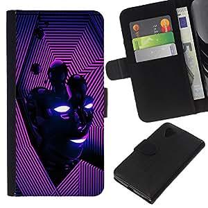 - ENERGY MODERN VIBRANT FACE LINES PURPLE - - Prima caja de la PU billetera de cuero con ranuras para tarjetas, efectivo desmontable correa para l Funny House FOR LG Nexus 5 D820 D821