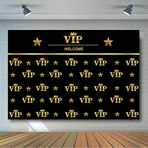 COMOPHOTO VIP Photography Backdrop 7x5ft Royal Crown Black Gold Hollywood Baby Shower Graduation Birthday Party Banner Photo Studio Backgrounds for Pictures]()