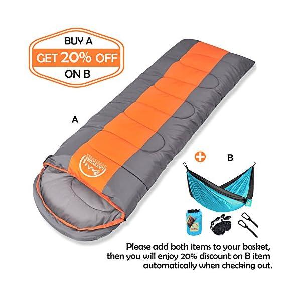 LATTCURE Sleeping Bag Comfort Portable Lightweight Envelope Sleeping Bag With Compression Sackfor CampingHikingBackpackingTraveling And Other Outdoor Activities SingleOrangeGrey7512 X33