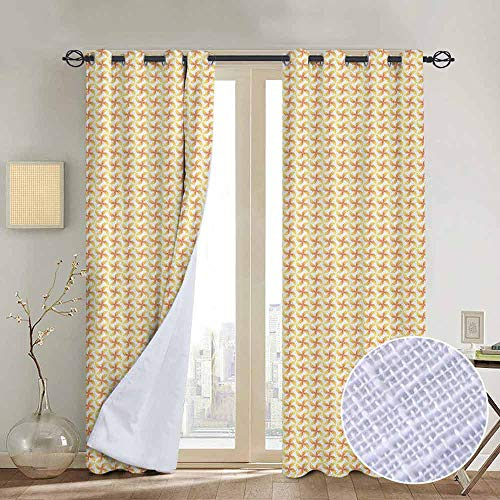 "NUOMANAN Light Blocking Curtains Pinwheel,Abstract Motif in Pastel Tone Kids Geometric Circles Spring Joyful, Apricot Mustard White,for Bedroom, Kitchen, Living Room 120""x96"""