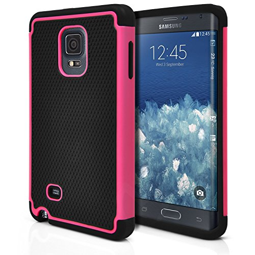 Note Edge Case, MagicMobile [Dual Armor Series] Rugged Impact Resistant Case for Samsung Galaxy Note Edge Slim Cover Shockproof Silicone Skin Hard Plastic Shell [Pink] Protective Case for Note Edge