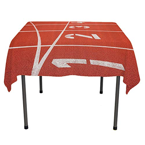 Olympics Decorations Collection Tablecloth Printing Close Up of Numbers on Racetrack Lines Stadium Ground Determination Success Art Coral White speing Table Cloth Spring/Summer/Party/Picnic 60 by 90