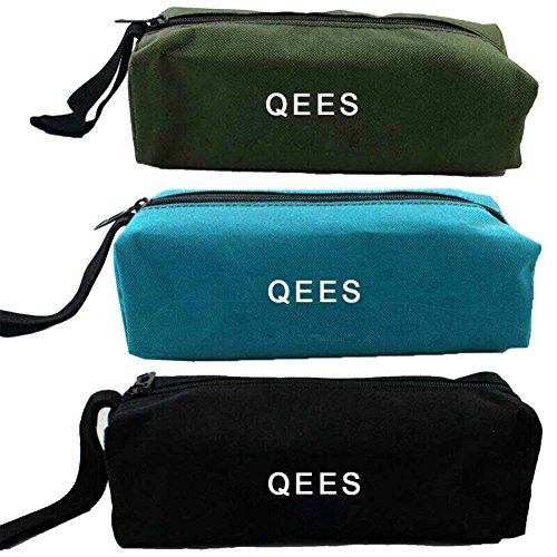 3 PCS Small Portable Canvas Zipper Bag Multi-purpose Tool Pouch Tote Bags Storage Organizer with Hanging Loop Fit Pliers, Screwdrivers, Nut Drivers Gifts for Mom/Dad GJB05 by QEES