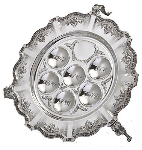 Hazorfim Cobalt Seder Plate With Legs Passover Pesach sterling silver judaica Israel Jerusalem Holy land gift .925 925 seder Jewish holiday hatzorfim by Hazorfim