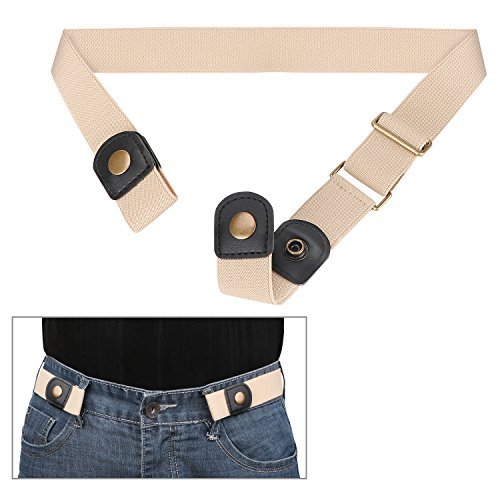 (No Buckle Invisible Elastic Belt for Men/Women Beige, Fits waist 24-35in )