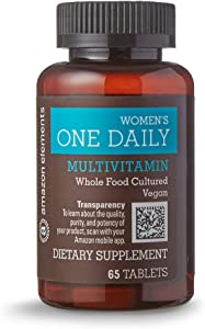 Amazon Elements Women's One Daily Multivitamin, 59% Whole Food Cultured, Vegan, 65 Tablets, 2 month supply