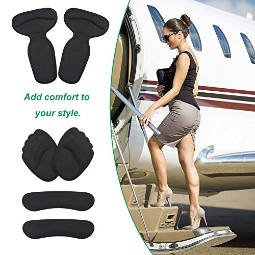 High Heel Pads (8 pcs) - High Heel Inserts, Heel Shoe Inserts, Heel Grips, Heel Cushion Inserts, Metatarsal Foot Pads, Heel Snugs for Women - Blister Prevention & Improve Shoes Too Big (Black) by GENTEE (Image #7)