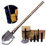XMSS Military Folding Shovel Multitool Shovel For Gardening Camping Outdoors Heavy Duty Survival Gear (one size, Gold)