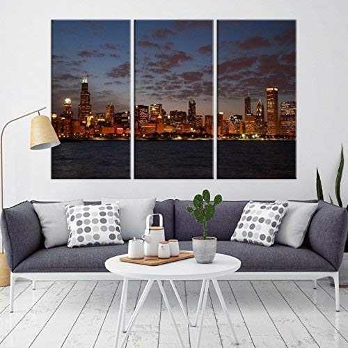 (Chicago Skyline Wall Art Canvas Print   X-Large 3 Piece Framed Multi Panel Print   High Resolution Colorful Photo of City for Home Décor   Ready to Hang, 4 Extra)
