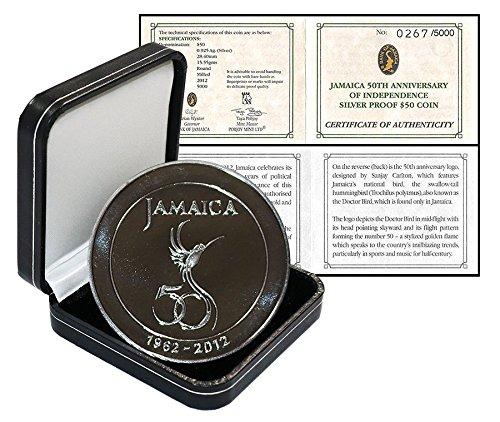 2012 Jm 50Th Anniv  Of Indepence Jamaica 50 Dollars  15 55G Silver Proof Coin  2012  Mint  50Th Anniv  Of Indepence  50 Uncirculated Jamaica Mint