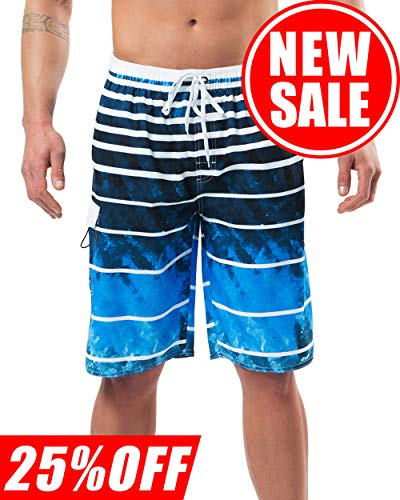 (Lncropo Mens Quick Dry Swim Trunks Striped Beach Board Shorts with Lining and 3 Pockets(B2-Blue,L))