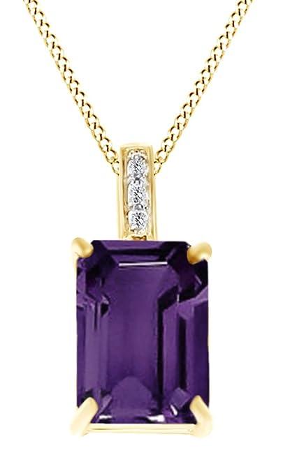 bc391a2cbdd6 AFFY Plata de ley (925 1000) Plata chapada en oro amarillo de 18 K talla  esmeralda violeta amatista  Amazon.es  Joyería
