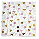 We Love Sundays Pink and Gold Heart Party Napkins | 20 Pieces/Pack | Great for Various Themed Parties