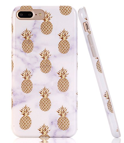 iPhone 7 Plus Case, White Marble Gold Pineapple Design, BAISRKE Slim Flexible Soft Silicone Bumper Shockproof Gel TPU Rubber Glossy Skin Cover Case for iPhone 7 Plus & iPhone 8 Plus