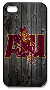 Arizona State Sun Devils wood background Iphone 4 4S Case PC Material Black