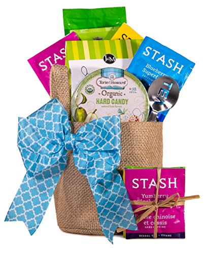 Birthday Gift Baskets for Women - Tea, Gourmet Treats, Tea Squeezer and Cute Reusable Burlap Pot Cover - Fruity Flavors