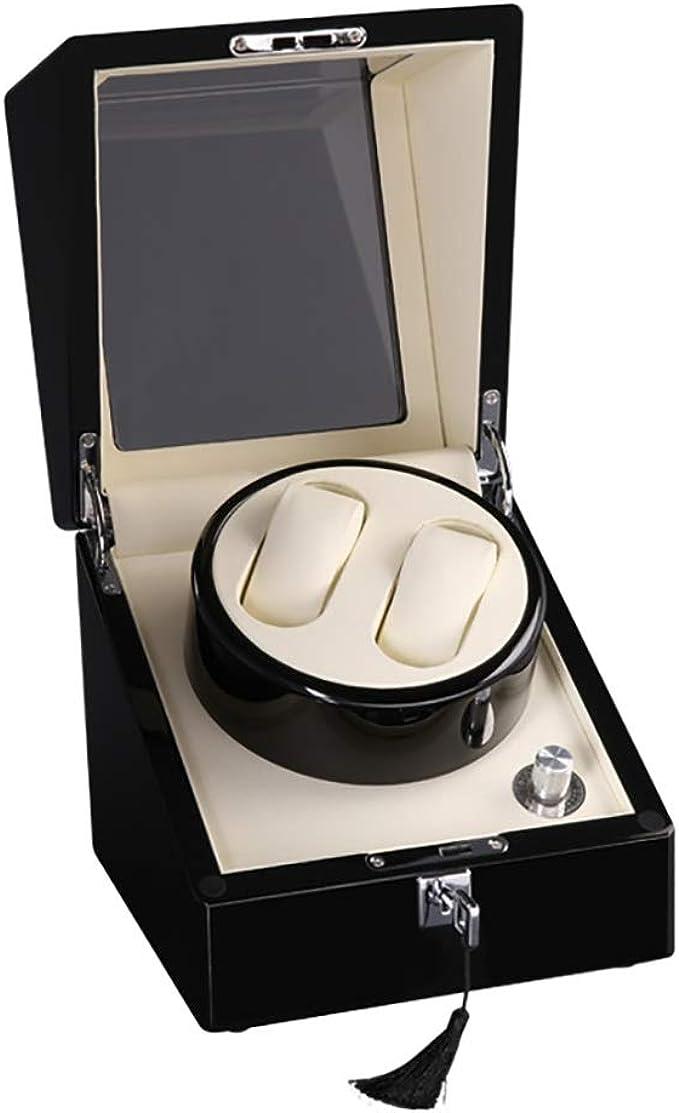 Watch Winder Doble caja de enrollador de reloj automático para 2 relojes con estuche de almacenamiento, 5 modos de rotación, motor silencioso, pintura de piano, 10 modos de rotación, adecuado para muñ: