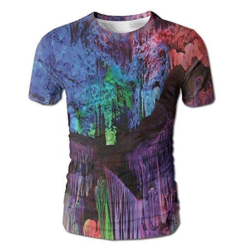 Edgar John Screw The Colourful Lights On The Cliff Looks Like Jewels Men's Short Sleeve Tshirt XXL (Cliff Jean Wash)