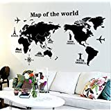 Buy happy walls world map typographic text educational wall oren empower ultimate black world map pvc vinyl large wall sticker finished size on wall gumiabroncs Image collections