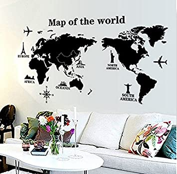 Buy oren empower ultimate black world map pvc vinyl large wall oren empower ultimate black world map pvc vinyl large wall sticker finished size on wall gumiabroncs Images