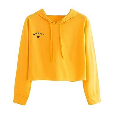 856d631675490 Kamendita Women s Girls Long Sleeve Honey Letter Print Cropped Crop Top  Hoodie Sweatshirt Pullover Tops Blouse Shirt at Amazon Women s Clothing  store