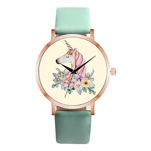 e281c7ca3e7c Relojes para mujer Moda Relojes Mujeres Mujeres Mujeres Mujer Unicornio  Patrón Correa Cuero Cuarzo Reloj de Pulsera Mujer Reloj de Montróleo Verde   ...