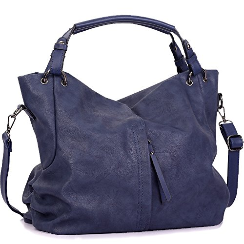 Handbags for Women WISHESGEM Large Capacity Ladies Hobo Purses Top Handle PU Leather Shoulder Bags Blue