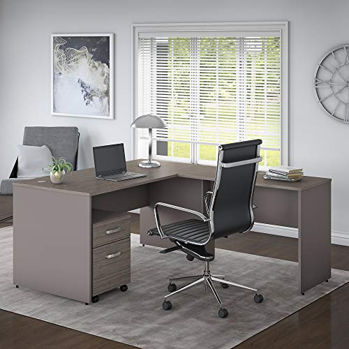 Bush Furniture Commerce 60W L Shaped Desk with Mobile File Cabinet in Cocoa and Pewter by Bush Furniture (Image #1)