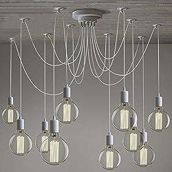 SUSUO Lighting Modern Chic Multi Pendant Chandelier Adjustable DIY Ceiling Spider Pendant Lighting,Color White