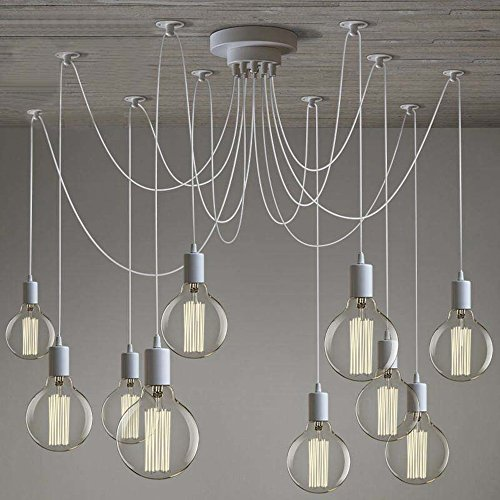 SUSUO Lighting Modern Chic Multi Pendant Chandelier Adjustable DIY Ceiling Spider Pendant Lighting,Color White