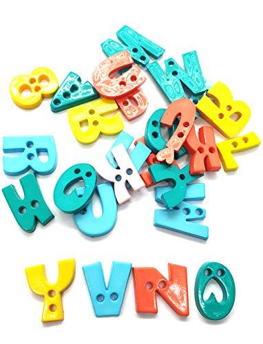 50 pcs Assorted A B C Letter Alphabet Buttons 2 Holes Mix Colors