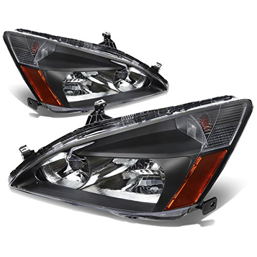For 03-07 Honda Accord Pair of Black Housing Amber Corner Replacement Headlights/Lamps