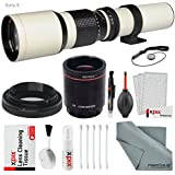 Super-powered 500mm/1000mm f/8.0 Telephoto Lens (White) with 2X Professional Multiplier for Sony E-Mount Digital Mirrorless Cameras and Deluxe Accessory Bundle with Xpix Cleaning Kit