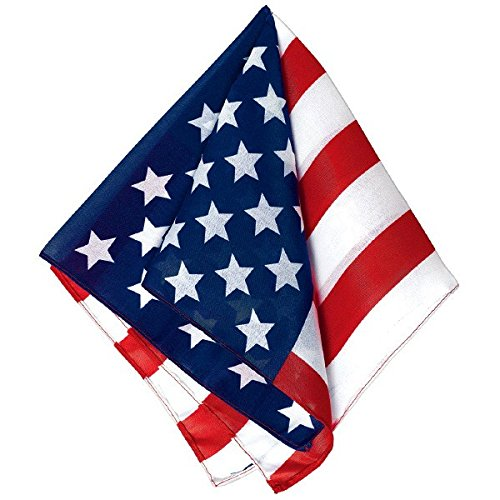 Old Glory Team Spirit American Flag Printed Bandana Accessory, Poly-cotton, 21
