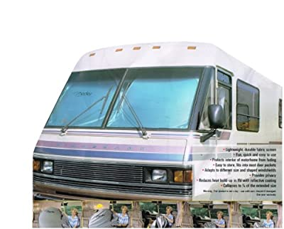 """RV Motorhome Reflective Collapsible Sunshade (1pc Shade 2 Rings)- 90"""" Wide By 43"""" Tall"""