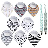 Conleke Baby Bandana Drool Bibs,Unisex 8 Packs Baby Bibs for Drooling and Teething,100% Organic Cotton,Soft and Absorbent,Hypoallergenic - Gift Set for Boys and Girls of 0-24 Months (A)