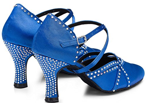 Abby YFYC-L161 Womens Professional Fashion Latin Tango Cha-Cha Kitten Heel Satin Dance Shoes Blue QoAf1U73U