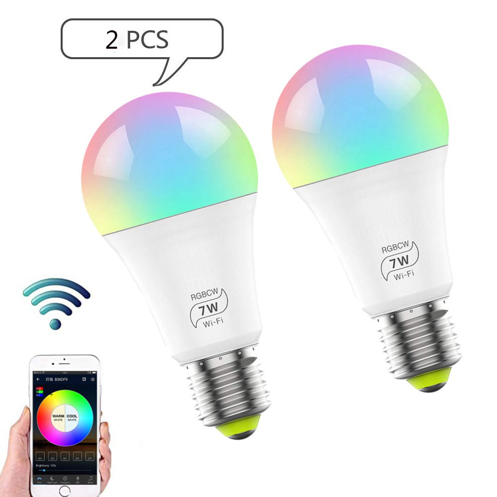 kangle WiFi Smart Bulb,E27 Multicolor Dimmable and Color Changing,Works with Phone,Google Home and IFTTT,No Hub Required 7W