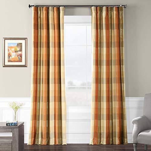 Silk Drapes Plaid (Pts-SLK22012-108 Faux Silk Plaid Curtain, 50 x 108, Cumbria)