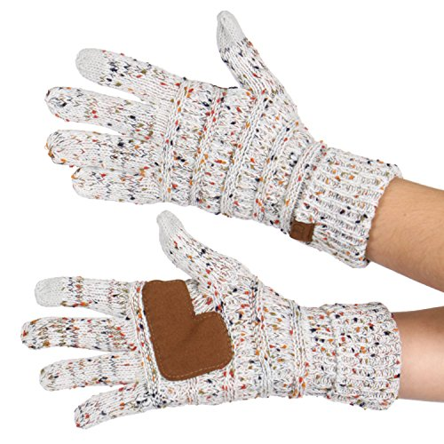 Serenita C C Unisex Cable Knit Confetti Smart Touch Winter Warm Touchscreen Texting Gloves Ivory