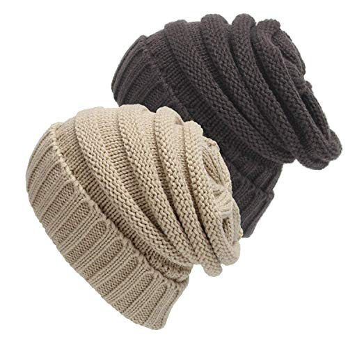 Senker 2 Pack Slouchy Beanie Cap Knit Soft Cozy Cable Hats for Women and ()