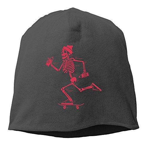 Hhil Swater Unisex Skeleton Riding Skateboard Comfortable Breathe Freely Skull Cap Daily Beanie Hat Black