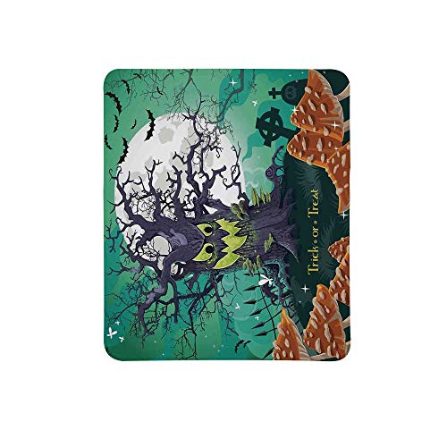 Halloween Decorations Non Slip Mouse Pad,Trick or Treat Dead Forest with Spooky Tree Graves Big Kids Cartoon Art for Home & Office,11